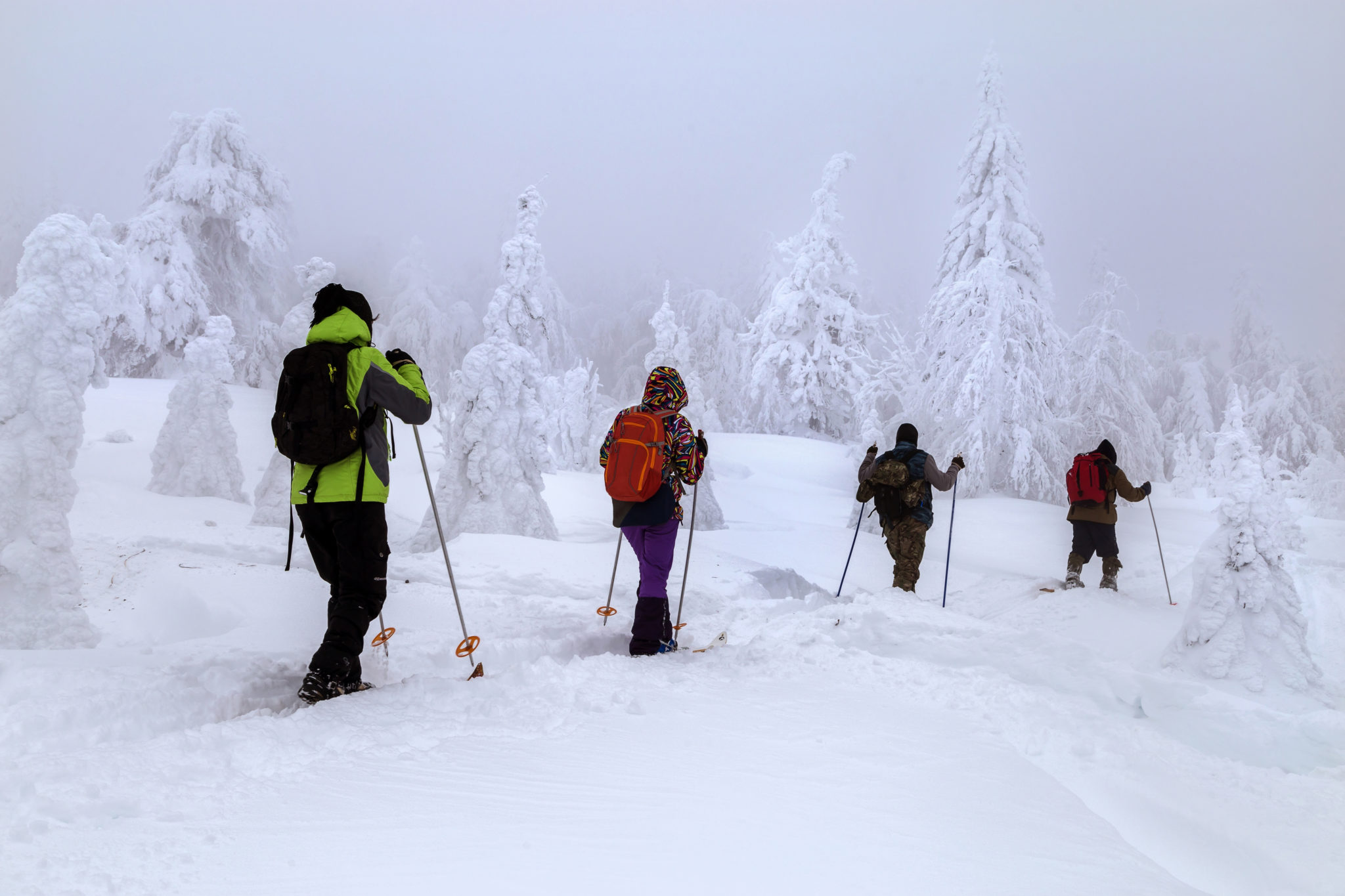 Four skiers make the trip to the mountains of the Southern Urals.